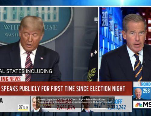 """Trump parla di brogli e le tv lo censurano: """"Ciò che dice è assolutamente falso, dobbiamo interromperlo"""""""
